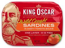 King Oscar Wild Caught Sardines Zesty Tomato, 3.75 Ounce (Pack of 12)
