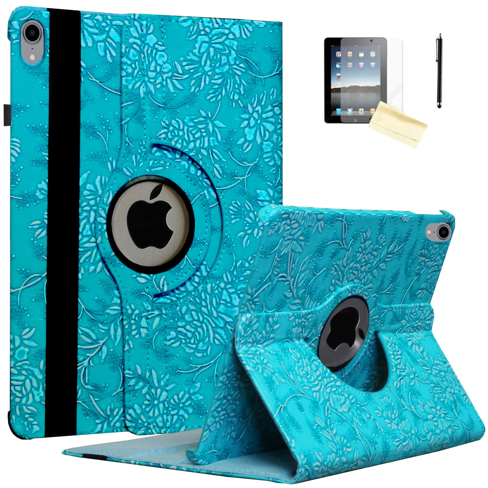 JYtrend Case for 10.5-inch iPad Air 3rd, Rotating Stand Smart Magnetic Auto Wake Up/Sleep Cover for 2019 iPad Air 3 -A2152 A2153 A2154 A2123 MUUT2LL/A MV162LL/A MV0E2B/A MV0U2CH(Embossed Blue Flower)