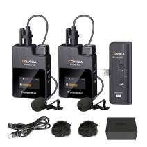 Comica BoomX-DMI2 2.4G Wireless Microphone System Compatible with iPhone/iPad,Wireless Dual Lavalier Microphone with 2 Transmitters 1 Receiver,Lav Mic for Podcast Interview YouTube Vlog/Live-Stream