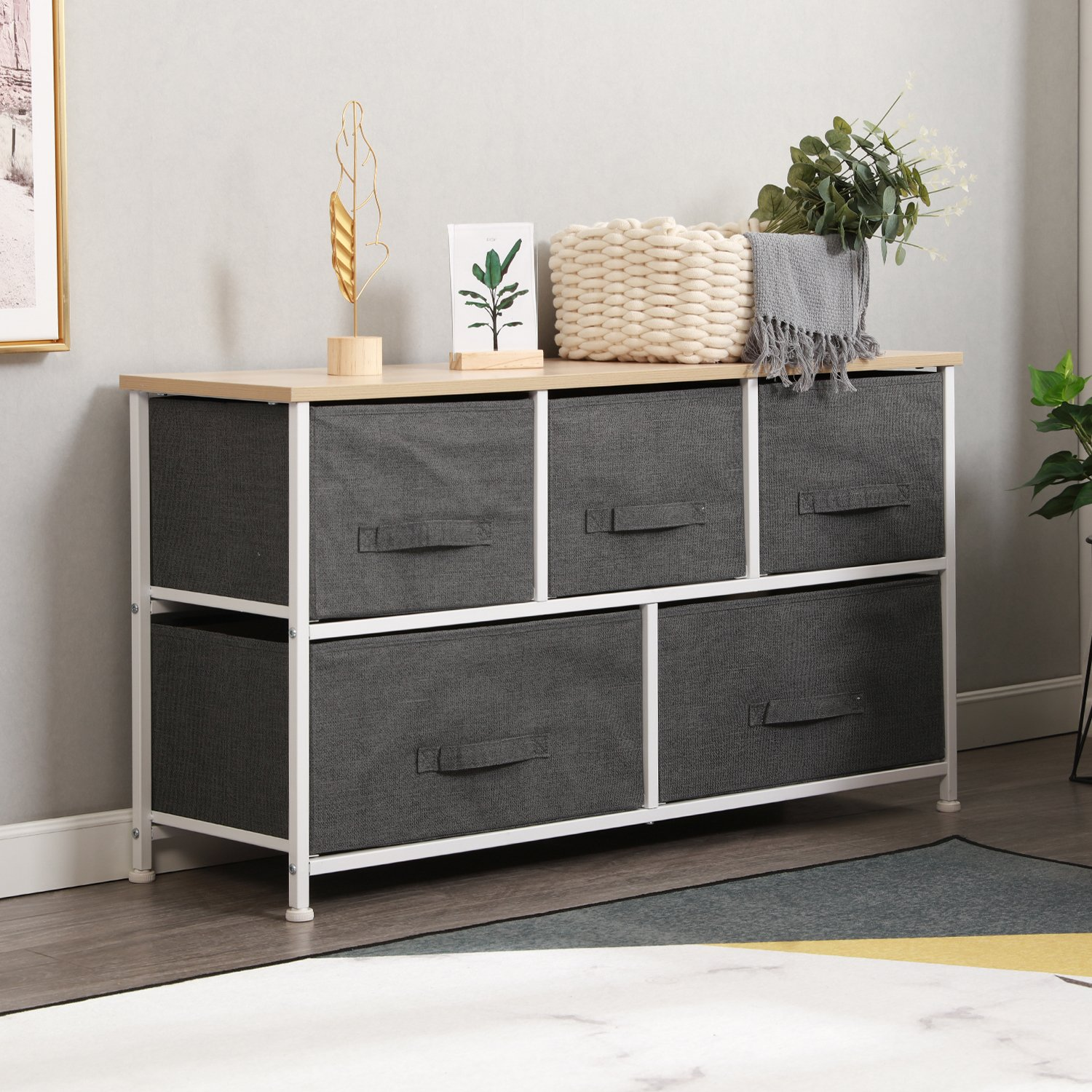 sogesfurniture Wide Dresser Storage Tower - Sturdy Steel Frame, Wood Top, Easy Pull Fabric Bins Metal Frame with Fabric Bin, Organizer Unit for Bedroom, 5 Drawers, Gray BHUS-106-GY