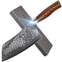 """TUO Cutlery Cleaver Knife - Japanese AUS-10 Damascus Steel Hammered Finish - Chinese Chef's Knife For Meat And Vegetable With Ergonomic Pakkawood Handle - 7"""" - Fiery Phoenix Series"""
