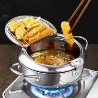 Tempura Deep Fryer Pot Stainless Steel,2.2L Tempura Frying Pot Japanese Style Deep Frying Pan Oil Drip Drainer Rack with Thermometer Lid for Kitchen and Frying Rosettes