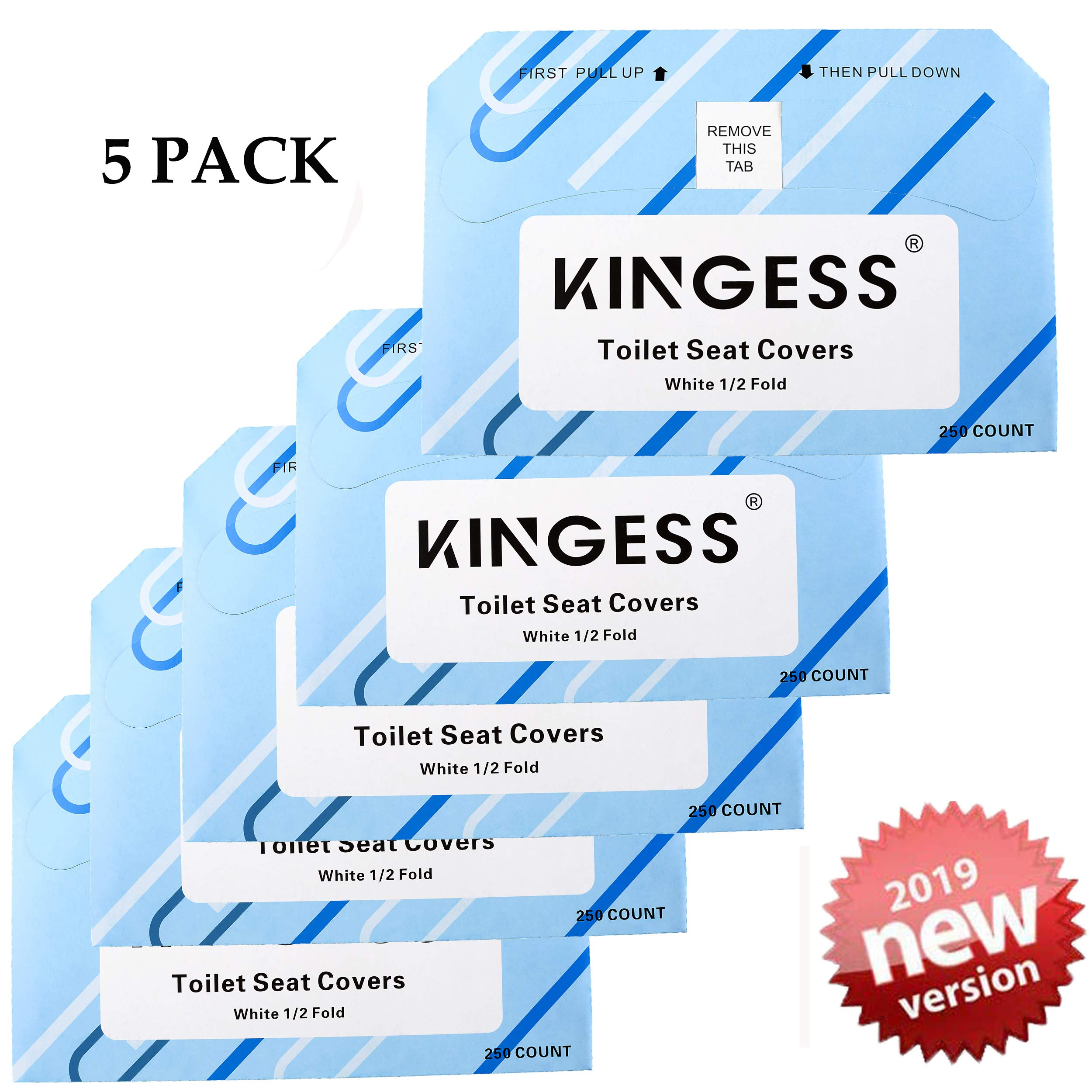 KINGESS Toilet Seat Covers - Disposable Virgin Paper Half-Fold Toilet Seat Cover Dispensers (5Pack(1250covers))