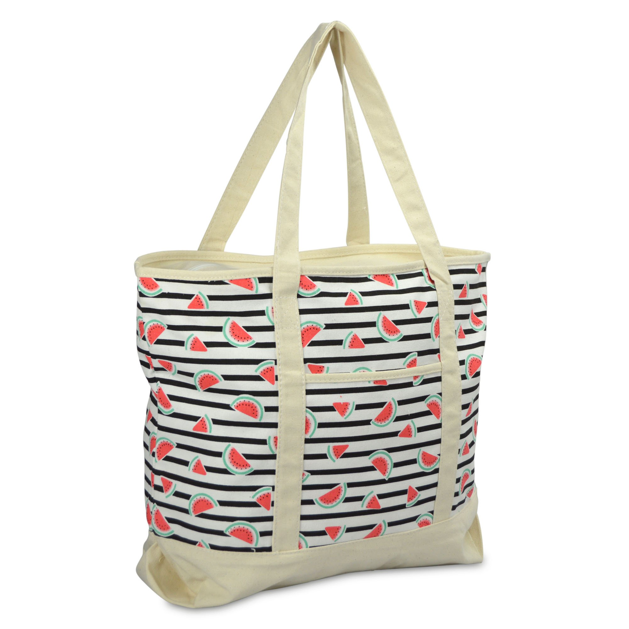 "DALIX 22"" Shopping Tote Bag Heavy Cotton Canvas (Zippered Top) Black Watermelon"