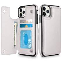 HianDier Wallet Case for iPhone 11 Pro Slim Protective Case with Credit Card Slot Holder Flip Folio Soft PU Leather Magnetic Closure Cover for 2019 iPhone 11 Pro, White
