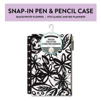 me & my BIG ideas Snap-In Pen Case - The Happy Planner Scrapbooking Supplies - Black & White Flowers - Fabric Zippered Pouch - Hold Pens, Pencils & Small Accessories - Snaps Into Your Happy Planner