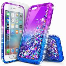 iPhone 6S Case, iPhone 6 Case with Tempered Glass Screen Protector for Girls Women Kids, NageBee Glitter Liquid Waterfall Floating Diamond Durable Moving Quicksand Clear Cute Phone Case -Purple/Blue