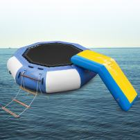 Popsport Inflatable Water Trampoline Series Splash Padded Water Bouncer Inflatable Bouncer Jump Water Trampoline Bounce Swim Platform for Water Sports
