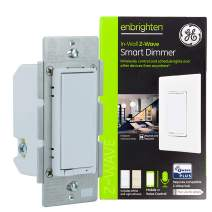 GE Enbrighten Z-Wave Plus Smart Light Dimmer, Works with Alexa, Google Assistant, 3-Way Compatible, ZWave Hub Required, Repeater/Range Extender, White & Light Almond, 14294