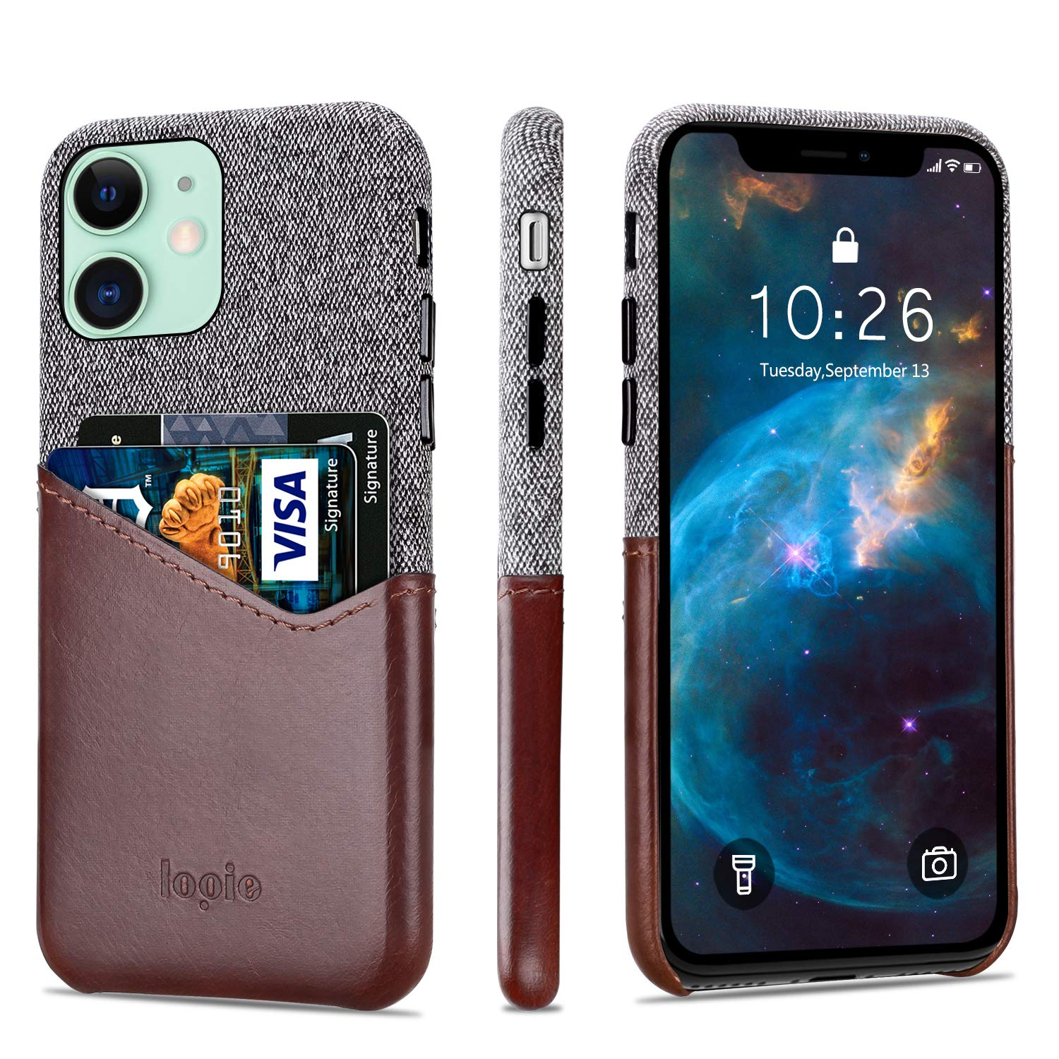 """Lopie [Sea Island Cotton Series] Slim Card Case Compatible for iPhone 11 2019 (6.1""""), Fabric Protection Cover with Leather Card Holder Slot Design, Dark Brown"""