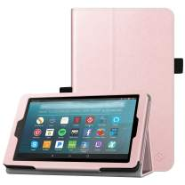 Fintie Folio Case for All-New Amazon Fire 7 Tablet (9th Generation, 2019 Release) - Slim Fit PU Leather Standing Protective Cover with Auto Wake/Sleep, Rose Gold