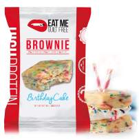 Eat Me Guilt Free High Protein Brownie, Low Carb Healthy Snack or Dessert, 22g Protein, Birthday Cake (12 Count)
