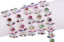 KAOYOO 1 Yard Flower Shaped Full Diamond Crystal Rhinestone Chain Trim,Sew on Clothing and Bridal Bouquet Embellishments