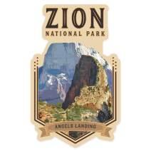 Lantern Press Zion National Park, Utah - Angels Landing - Contour 89496 (Vinyl Die-Cut Sticker, Indoor/Outdoor, Small)