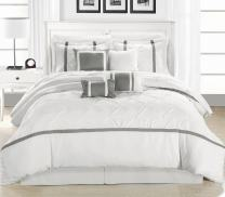 Chic Home Vermont 12-Piece Bedding Comforter Set Cozy and Elegant (Queen, White/Silver
