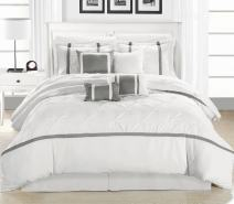 Chic Home Vermont 12-piece Bedding Comforter Set Cozy and Elegant (King, White/Silver)