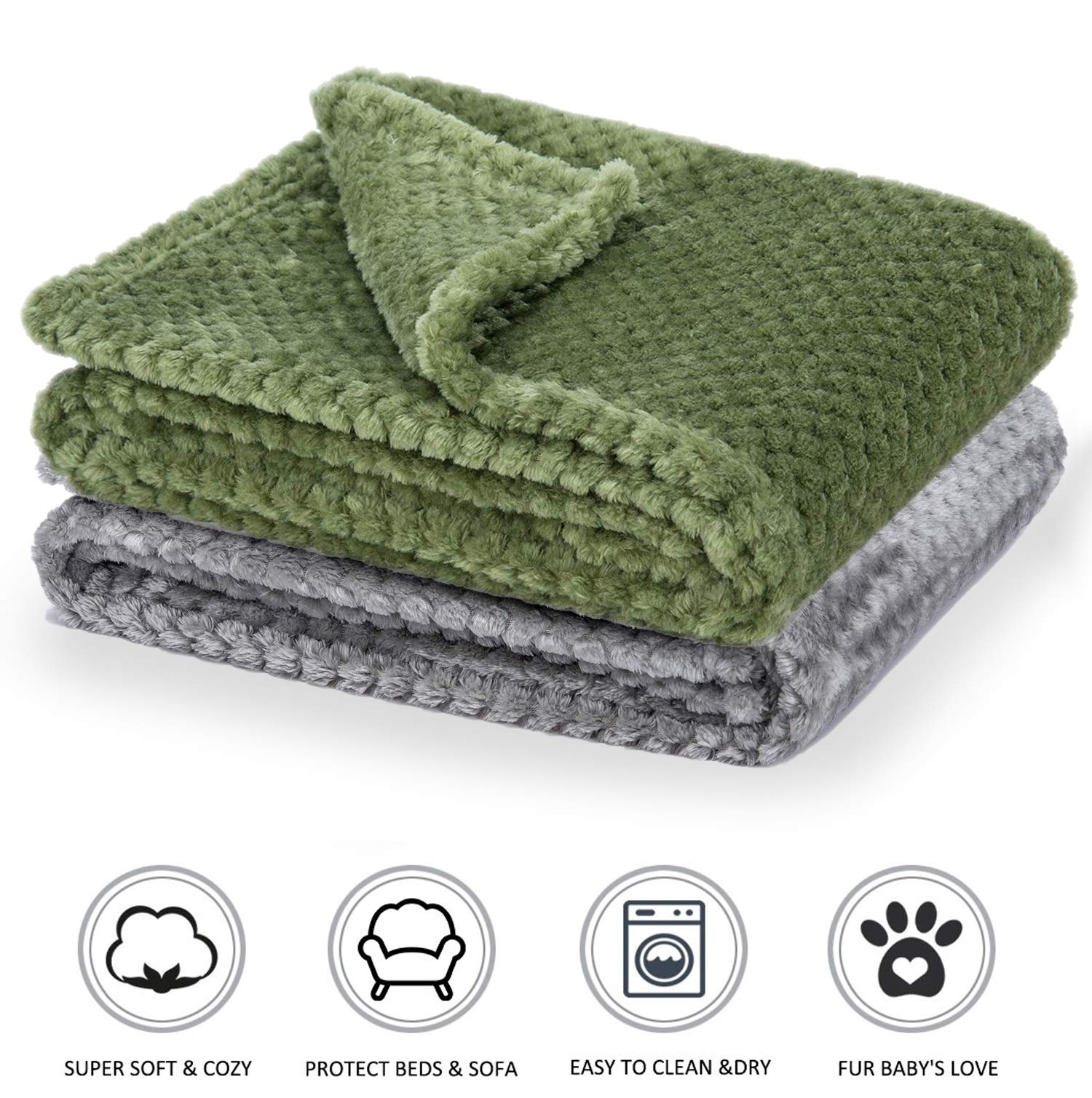 Fluffy Pet Snuggle Blanket and Throw 40×28 Inches Soft and Warm Cozy Coral Fleece Mat for Dogs & Cats- Pack of 2