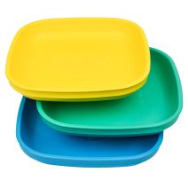 Re-Play Made in USA 3pk Plates with Deep Sides for Baby, Toddler - Aqua, Sky Blue, Yellow (Surf)