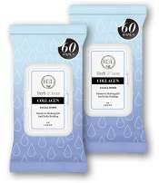 Herb & Luxe Face Wipes, Makeup Remover Facial Cleansing Wipes for Sensitive Skin, 60 Count (Collagen, 2 Pack = 120 Wipes)
