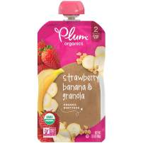 Plum Organics Stage 2 Organic Baby Food, Strawberry, Banana & Granola, 3.5 Ounce Pouch, Pack of 6