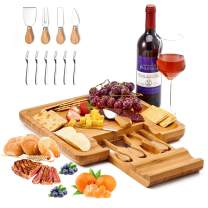 Utoplike Cheese Board with Knife Set, Bamboo Charcuterie Platter Serving Tray, Large(13 x 13 x 1.4) with 4 Stainless Steel Knife Folks in drawer, Perfect for Birthday, Housewarming & Wedding