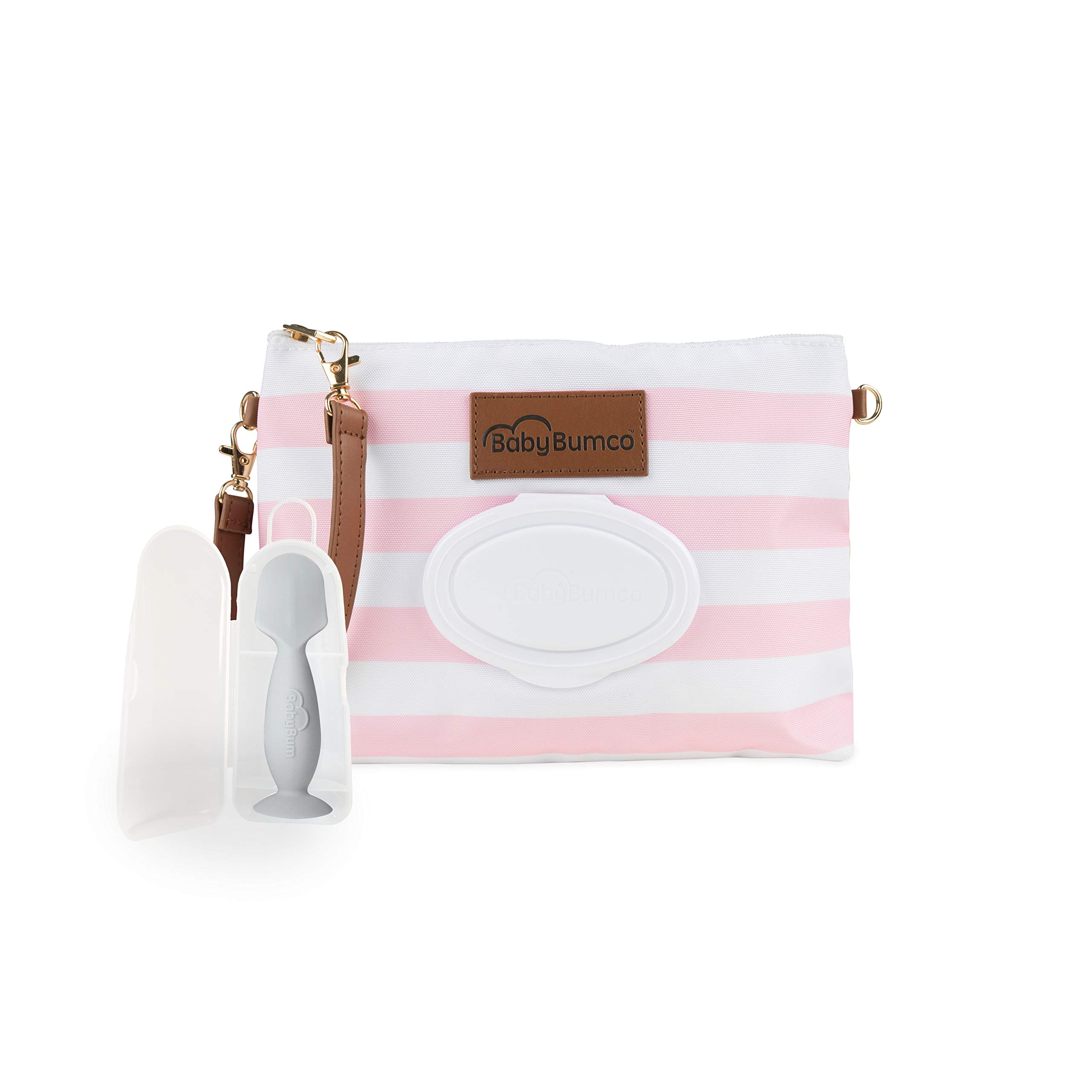 Diaper Clutch Bag and Mini Rash Cream Applicator with Travel Case, Soft Flexible Silicone - Water Resistant; Lightweight; Refillable Wipes Dispenser; Portable Changing Kit (Pretty Pink + Gray)