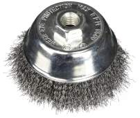 Firepower 1423-3158 Wire Cup Type Crimped Carbon Steel Wire Brush with 4-Inch Cup Diameter and 5/8-Inch NC Threaded Arbor