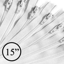 KGS 15 inch Nylon Zipper Zippers for Sewing Crafts | 100 Zippers/Pack (White)