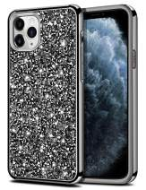 HoneyAKE for iPhone 11 Pro Max Case Bling Rhinestone Sparkly Crystal Diamond Shockproof Handmade Dual Layer Shell Hard PC Soft Rubber Bumper Protective Cover for iPhone 11 Pro Max 6.5 inch Black