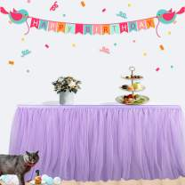 Purple Tulle Table Skirt Decor Gold Brim 9ft Tutu Table Dress Skirting for Party Baby Shower Wedding Brithday Dessert Table Decoration L9ft by H30in Purple