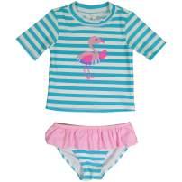 KIKO & MAX Girls' 2 Piece Swimsuit Set with Rashguard Swim Shirt