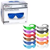 SAFE HANDLER Hyline Safety Glasses   FULL COLOR, ANSI Z87.1, Impact Resistant, Unbreakable Lens, 99% UV Protection, Anti-Scratch, 12 PAIRS 12 Assorted Colors (1 box)