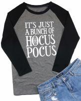 Women Halloween Shirt It's Just a Bunch of Hocus Pocus Raglan Sleeve T-Shirt Top