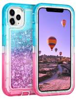 Coolden Case for iPhone 11 Pro MAX Cases Protective Glitter Case for Women Girls Cute Bling Sparkle Heavy Duty Hard Shell Shockproof TPU Case for 2019 Release 6.5 Inches iPhone 11 Pro MAX, Aqua Pink