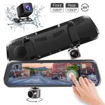 "CHICOM Mirror Dash Cam,Backup Camera 10"" 1080P Touch Screen Dash Camera 350° Rotating Front Camera and 140°Wide Angle Full HD Waterproof Rear View Reversing Camera"