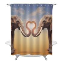 MitoVilla A Pair of Elephants Arrange Trumpets in The Shape of a Heart Shower Curtain Set with Hooks for Bathtub, Romantic Novelty Art Design Bathroom Accessories, 72W X 84L inches, Brown