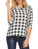 EASTHER Women's Plaid V Neck 3 4 Sleeves Blouse Checkered Top Shirts