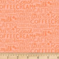 Clothworks Coffee Lover Collage Fabric, Orange, Fabric By The Yard