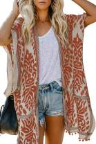 Tiksawon Womens Fashion Boho Printed Kimono Beach Cover up Summer Open Front Loose Flowy Cardigan Top with Tassel