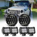 7Inch 75W Round LED Headlights Combo Assembly Light Kits DRL High Low Beam W/H4 H13 Adapter+4Inch LED Light Pods For Wrangler JK JKU Rubicon Unlimited Sahara Willy Wheeler Sport Motorcycle Hummer