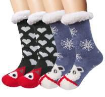Loritta 1-2 Pairs Womens Winter Socks Thick Warm Fuzzy Cozy Christmas Fleece Slipper Socks Gifts