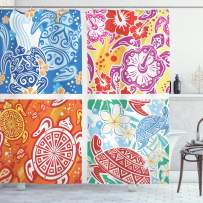 """Lunarable Turtle Shower Curtain, Colorful Abstract Designs with Hawaiian Elements Hibiscus Marine Reptiles Flowers, Cloth Fabric Bathroom Decor Set with Hooks, 70"""" Long, Purple Orange"""