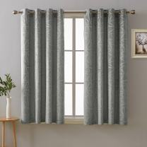 Deconovo Embossed Triangle Pattern Grommet Window Curtain Soft Room Darkening Curtains for Kids Bedroom Gray 52x54 Inch 2 Panels