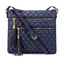 LOVEVOOK Leather Crossbody Bags for Women, Quilted Purses and Handbags Cross Over the Shoulder Purse with Tassel Mirror, Navy, Medium