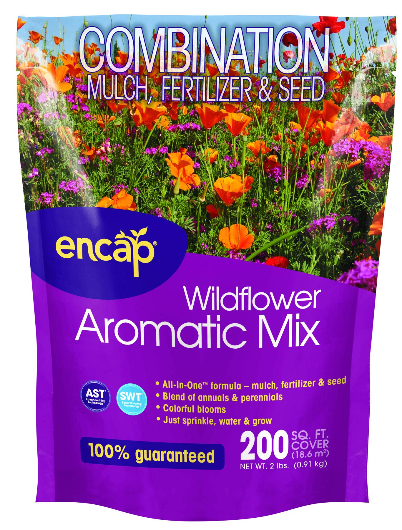 Wildflower Aromatic Mix from Encap - 4-in-1 Mix, Annual and Perennial Seeds, Open-Pollinated, Non-GMO, with Instructions for Planting a Beautiful Fragrant Garden