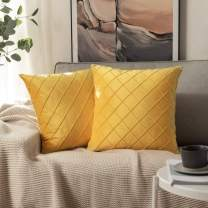 MIULEE Velvet Throw Pillow Covers Decorative Square Soft Solid Pillowcases Plaid 18 X 18 Inch Orange Couch Pillows Set of 2 Cushion Covers with Invisible Zipper for Sofa Bedroom Living Room