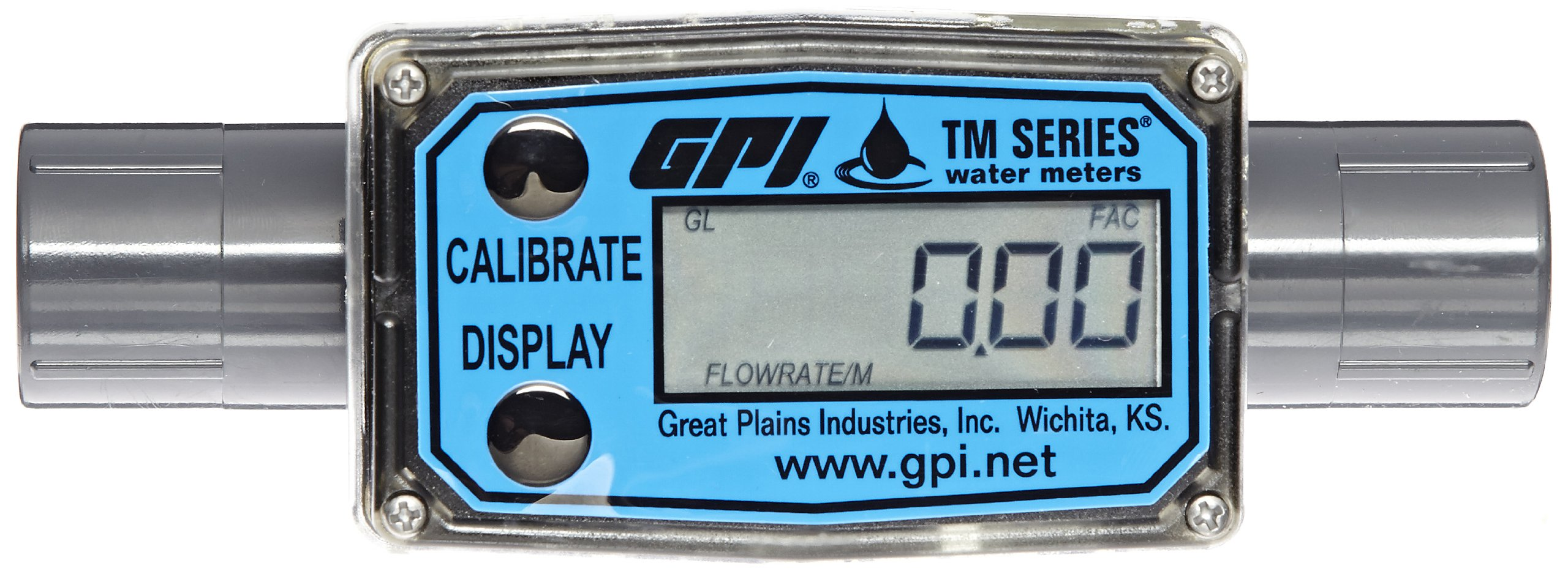 FLOMEC TM050-N, 1/2 inch Turbine Meter, Battery Operated Display with Rate and 2 Total Register, PVC, 1 to 10 GPM Flow Range