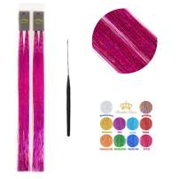 48'' Hair Tinsel 300 Strands Sparkling Color Shiny Hair Flairs Extensions Fairy Hair with Tools (Rose Red)