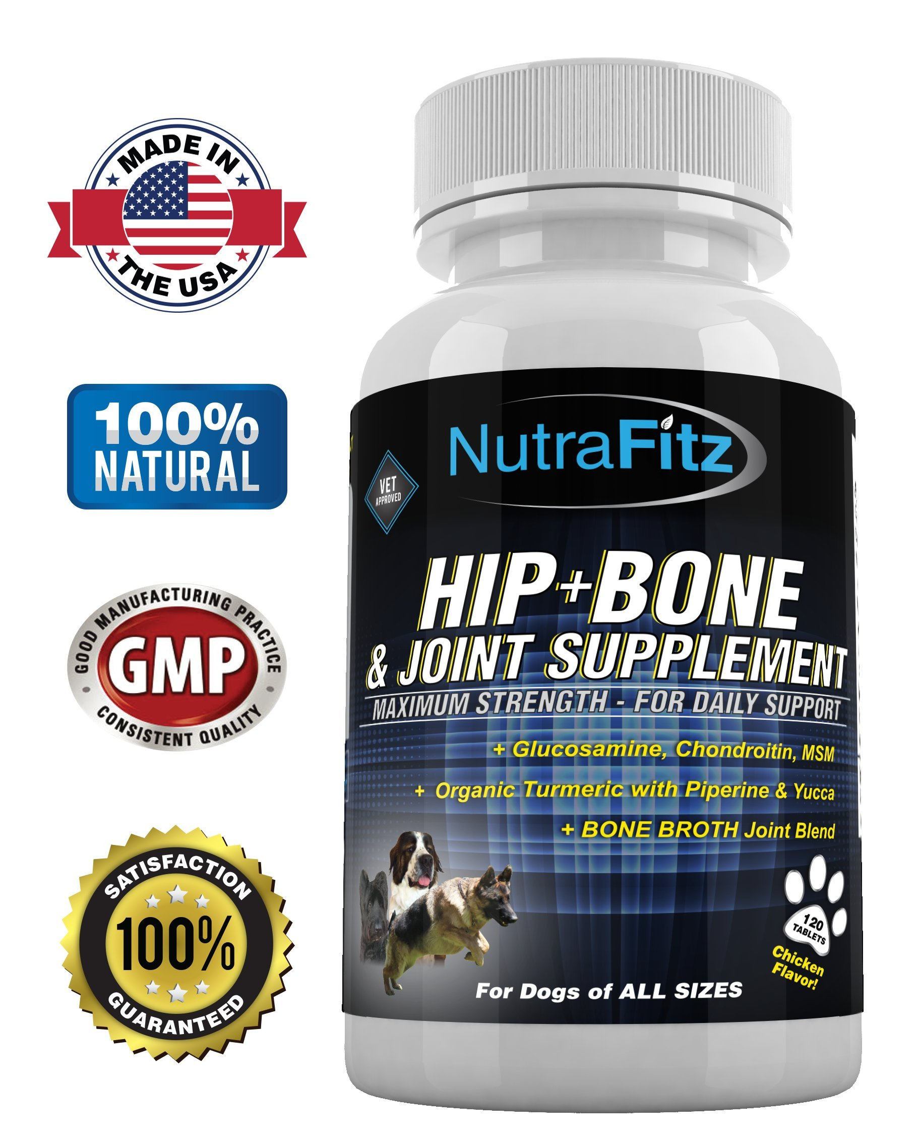NutraFitz Hip Bone and Joint Supplement for Dogs -Glucosamine Chondroitin for Dogs, MSM, Organic Turmeric - Hip Dysplasia, ACLs - Best Dog Joint Supplement for Joint Support - 120 Tablets