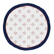 Sweet Jojo Designs Red, White and Blue Playmat Tummy Time Baby and Infant Play Mat for Baseball Patch Sports Collection